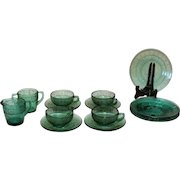 Vintage 14 Piece Kids Set by Jeannette Depression glass in the teal green Doric & Pansy Pattern 1937-38 Good Condition