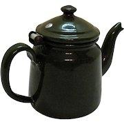 Vintage Czecho-Slovakia Green Enamelware Teapot 1950s Good Condition