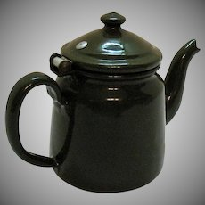 Vintage Czecho-Slovakia Green Enamelware Teapot 1950s Good Condition