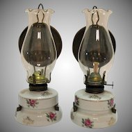 Vintage Pair of Wall Hanging or Table Kerosene Lamps 1940-50s Useable Condition