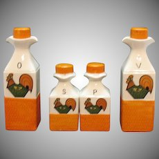 Vintage Vinegar/Oil Cruets S&Ps Chicken Motif 1970s Good Condition