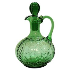 Vintage EAPG Green Cruet by United States Glass Co. 1898-1907 Good Condition
