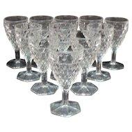 Vintage 11 Fostoria American Wine Glasses 1915-82 Hexagon Foot Good Condition