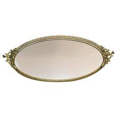 Vintage Vanity Tray/Mirror Bird Handles Gold Gilt Over Brass Filigree Metal Work 1930-50s Good Condition