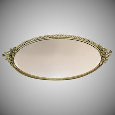 Vintage Vanity Tray/Mirror Bird Handles Gold Gilt Over Brass Filigree Metal Work 1930-50s Good Condition