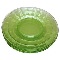 Vintage Anchor Hocking Depression glass Green Block Optic Saucers 1929-33 still in good condition