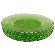 Vintage Green Hazel Atlas Depression glass Salad Plates New Century Pattern 1930-35 in vintage Used Condition