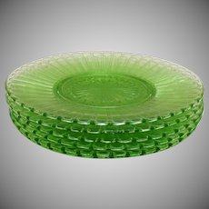 Vintage Green Hazel Atlas Depression glass Salad Plates New Century Pattern 1930-35 in vintage Used Condition
