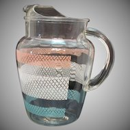 Vintage Anchor Hocking Pitcher with Ice Lip Lattice Motif 1950-60s Good Condition