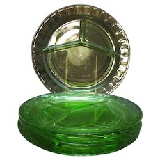 Vintage Anchor Hocking Block Optic Green Depression glass Grill Plates 1929-33 Good Condition