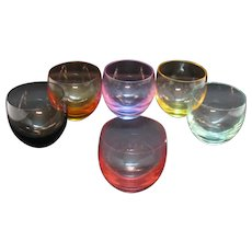 Vintage Moser 6 Culbuto Tumblers Bohemian Cut Glass Lead Free Crystal Acid Etched Good Condition