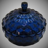 Vintage Lancaster Colony Cobalt Blue Covered Candy/Nut Dish 1980s