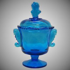Vintage Imperial Glass Co. Blue Covered Candy Dish Seahorse Handles Good Condition
