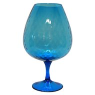 Vintage Blue Hand Blown Italian Mid Century Empoli Glass Vase/Brandy Snifter Diamond Optic Good Condition