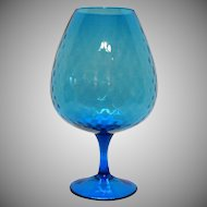 Vintage Blue Hand Blown Italian Mid Century Empoli Glass Vase/Brandy Snifter Diamond Optic Good Condition