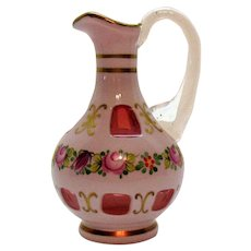 Vintage Hand Blown Czech Cruet Cased Overlay on Cranberry Glass 1990s Good Condition