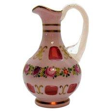 Vintage Hand Blown Czech Cruet Cased Overlay on Cranberry Glass 1990s Good Condition