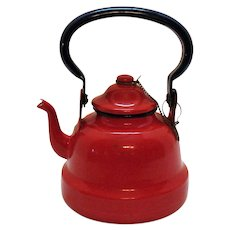 Vintage Small Red Enamel Ware Teapot 1950s Good Condition