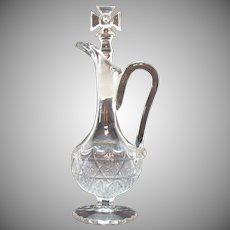 Vintage Crystal Cruet Cross Glass Stopper 1940-50s