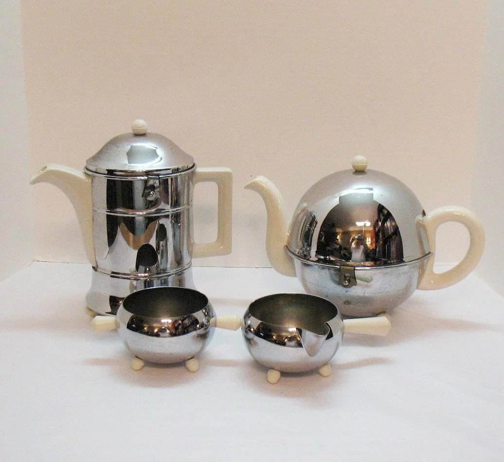 Vintage Made in England Chrome Plated Insulated Ceramic Teapot ...