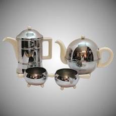 Vintage Made in England Chrome Plated Insulated Ceramic Teapot Coffee Holder Sugar & Creamer 1939-40 Good Condition