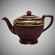 Vintage Hall Standard Gold Maroon Colored Decorated Teapot 6 Cup Hollywood Series 1920-60s Good Condition