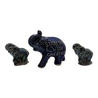 Vintage 2 Porcelain Whimsical Elephants & One Political Souvenir Ceramic Elephant Good Condition