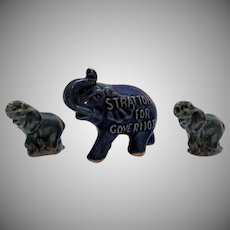 Vintage 2 Porcelain Whimsical Elephants & One Political Souvenir Ceramic Elephant Good Condition
