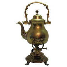 Vintage Brass Tea Kettle on stand with Burner Early 1900s Good Condition
