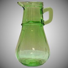 Vintage Hazel Atlas Green Depression glass Syrup Bottle 1929 Good Vintage Condition