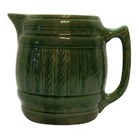 Vintage Green Stoneware Pottery Pitcher 1930-40s Good Condition