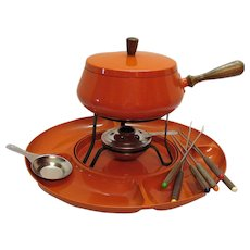 Vintage Mid-Century Fondue Set Lazy Susan Pot Burner & Forks Good Condition