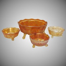Vintage Fenton Marigold Colored Carnival Glass Butterfly & Berry Pattern 1911-20s Master Berry Bowl & 3 Individual Berry Bowls