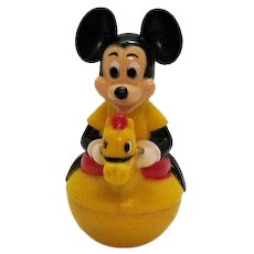 Vintage Mickey Mouse 1950s Roly Poly Hard Plastic Toy Made in Hong Kong
