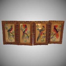 Vintage Set of Four Mexico Real Bird Feather Art 1950s