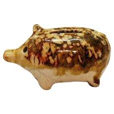 Vintage Antique Mottled Clay Piggy Bank Shape of Pig 1890s