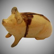 Antique Yellow Ware Piggy Bank Early 1900s Mottled Color Good Condition