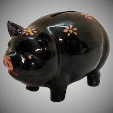 Vintage NAPCo Piggy Bank Shape of Pig Red Pottery Clay Glazed Good Condition