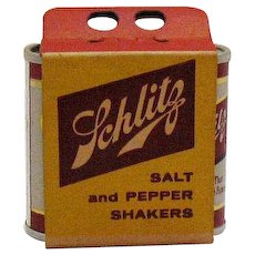 Vintage Schlitz Beer Advertising S&P Shakers Original box 1957 Good Condition