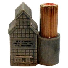 Vintage Advertising Toothpick Holder Ceramic Grain Elevator 1950s Good Condition