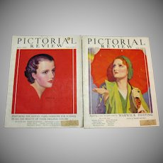 Two Vintage Pictorial Review Magazines April & May 1931 Good Condition