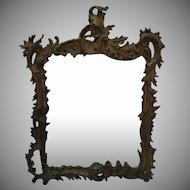 Antique Victorian Cast Iron Frame Beveled Wall Mirror by National Brass & Iron Works 1880s Vintage Condition