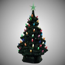 Vintage Atlantic Mold Ceramic Christmas Tree with Plastic Faux Lights 1970s Good Condition