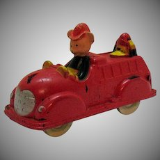 Vintage Mickey Mouse Fire Engine Toy by Sun Rubber Co. 1940s Good Vintage Condition