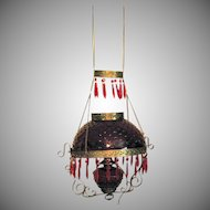 Vintage Hanging Parlor Lamp Ruby Red Hobnail Shade & Font  Electrified Vintage Condition