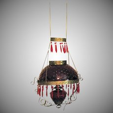 Antique Bradley & Hubbard Hanging Parlor Lamp Ruby Red Hobnail Shade & Font Victorian Era Electrified Vintage Condition
