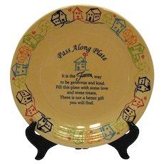 Vintage Homer Laughlin Fiesta Advertising Platter 1986 Pass Along Plate Good Condition