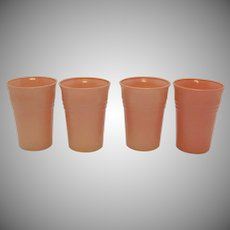 Vintage Hazel Atlas 4 Pink Glass Tumblers in the Moderntone Platonite Pattern 1940-Early 50s Good Condition