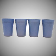 Vintage Hazel Atlas Set of 4 Blue Glass Tumblers in the Moderntone Platonite Pattern 1940-Early 50s Good Condition