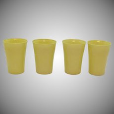 Vintage Hazel Atlas Set of 4 Yellow Glass Tumblers The Modertone Platonite Pattern 1940-Early 50s Good Condition